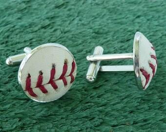 Real Baseball Cufflinks - Handmade Cuff Links Using a Real Baseball