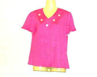 Pink T Shirts - Womens T Shirts - V Neck Tops - Short Sleeve Tops - Plus Size Tops - Size 12 - Size 14 - Medium
