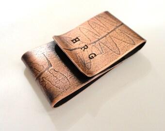 Personalized Fern Copper Money Clip