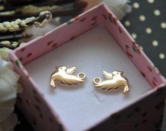 10 pcs  gold   plating  bird    pendant finding