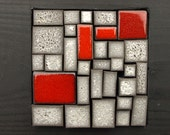 Grey and red mosaic ceramic. Wall art. New house. Newlyweds. Cottage gift. Mens gift. Unisex gift.