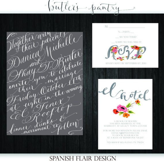 Watercolor calligraphy wedding invitation design