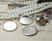 Brass silver plated round bezel cup cabochon mounting with V ring, 6 sizes available- 10mm/ 12mm/ 14mm/ 16mm/ 18mm/ 20mm- W06129