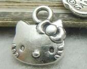 50PCS antique silver 10x13mm kitty cat charm pendant- XC7115