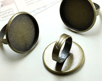 10PCS Antique bronze 25mm round Bezel Cup Adjustable Cabochon Ring Mountings- W06220