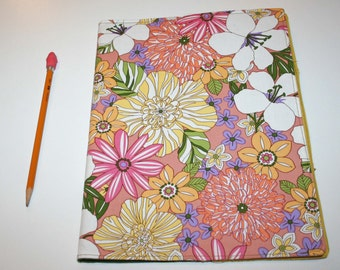 Peach, Melon and Yellow Flower Print Notebook Cover