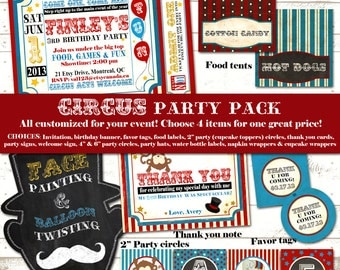 Circus Birthday Party Pack - Vintage Inspired / Retro Circus Carnival - Custom, Printable - Blackboard, Mustache - Choose 4 items