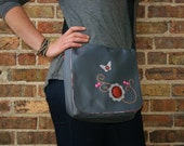 SALE Messenger Bag for Women Purse Satchel Pink Meadow Gray with Pink Orange Flowers Butterfly
