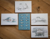 Motoring Art - Set of 5 Blank Cards - Hot Rods