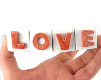 LOVE , Ceramic Letters ,Ceramic letters ornament , Holiday Decoration , Valentines ornaments, Handmade ceramic ornament