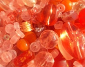 50% OFF SALE Orange Blossom Peach, Mandarin Bead Sampler Mix Plastic, Glass, Shell 100 Pieces 4-30mm