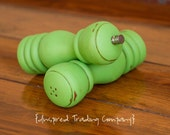 CHOOSE YOUR COLOR  - Painted,Distressed, Wooden Pepper Mill and Salt Shaker - Shabby Chic Kitchen Accessory-Antibes Green