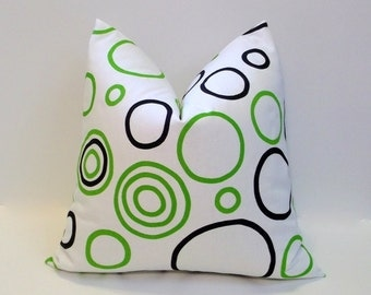 Black, white & lime green ~ white decorative pillow cover, modern home decor accent pillows