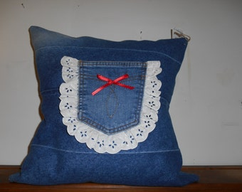 denim pillow with pocket trim
