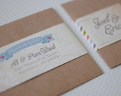 Personalized Wraparound Mailing Address Labels - Vagabond - Travel Wedding, Maps, Cute Labels, Bon Voyage, Baby, Themed Label, Ribbon Labels