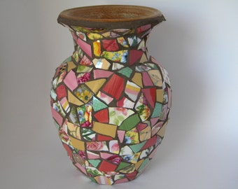 Floral Mosaic Vase, Flower Vase, Mother's Day, Easter, Gift for Godmother, Home Decor, Accent Piece, Valentine's Day, Cottage Chic