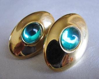 Vintage Oval Earrings - Iridescent Green Stud Earrings - Goldtone Posts