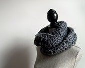 Super Bulky Cowl/Shawl in Charcoal Gray