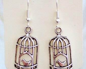 Bird Cage silver earrings - birdcage earrings, jewellery, jewelry, birds