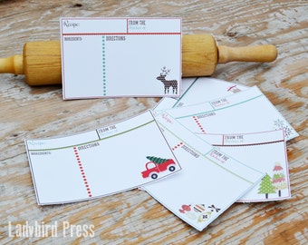 Printable Holiday Recipe Cards- Christmas Recipe Cards - Christmas Gift - Kitchen -  PDF - Instant Download