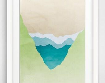 Nature Wall Art, Large Art Print, Abstract Landscape Art, Mountain Print, Modern Fine Art Print, Green Abstract Art