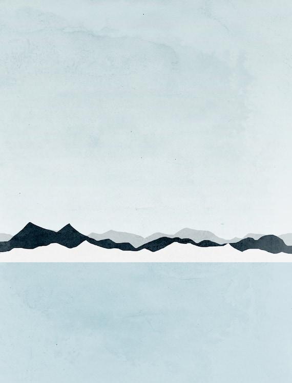 Wall art minimalist art mountain print scandinavian print for Minimal art landscape