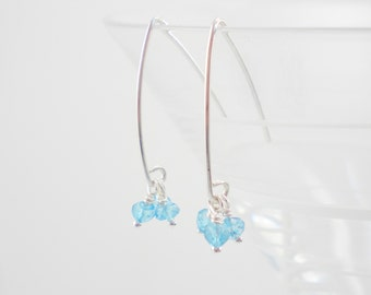 Blue Topaz and Sterling Silver Handcrafted Earrings / Something Blue / Wedding / December Birthstone / E37