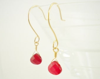 14K Gold Filled and Glass Crystal Earrings / Holiday Jewelry / Gold Earrings / Simple Modern / Gifts under 25