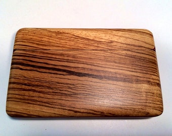 Wood Wallet with Zebra Wood and Purple Heart