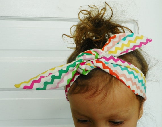 Zig Zag Elasticated Tie-Up Headband