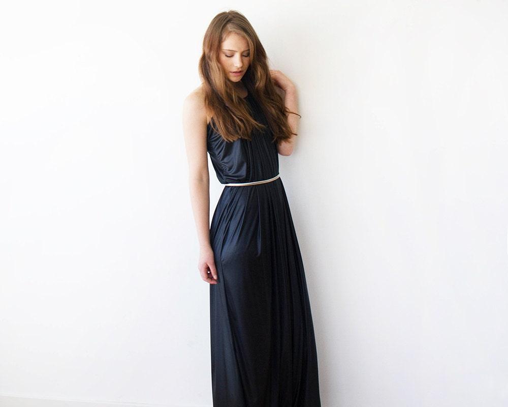 halter maxi black dress with a silver belt by blushfashion