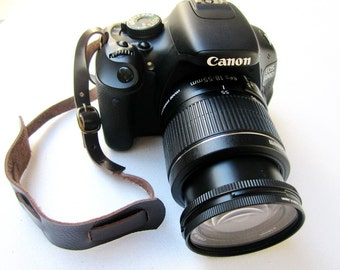 Awesome dark chocolate Leather camera strap / wrist strap