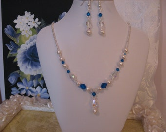 BLUE Pearl Necklace SWAROVSKI Crystals of AB Teardrops Set