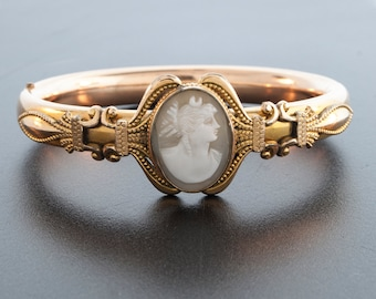 Antique Bracelet - Antique Victorian Rolled Gold Bangle Bracelet with Carved Shell Cameo