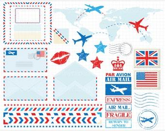 Clipart - Postal / Air Mail  - Digital Clip Art (Instant Download)