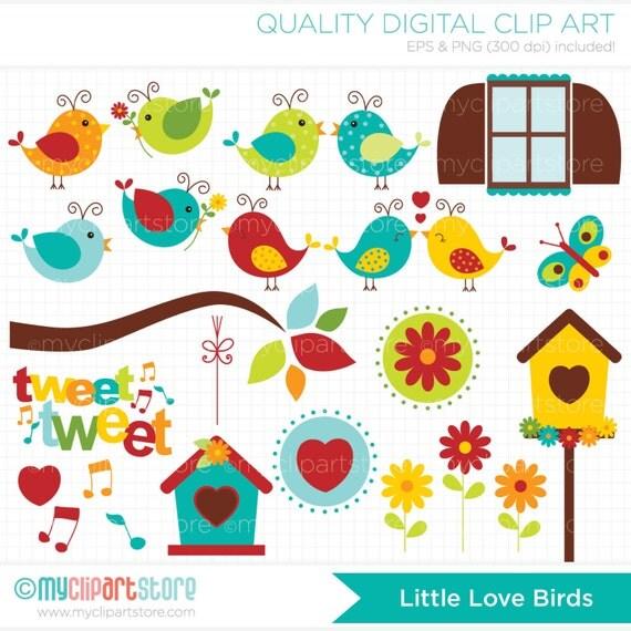 Clipart Bird Garden / Little Love Birds Digital Clip Art