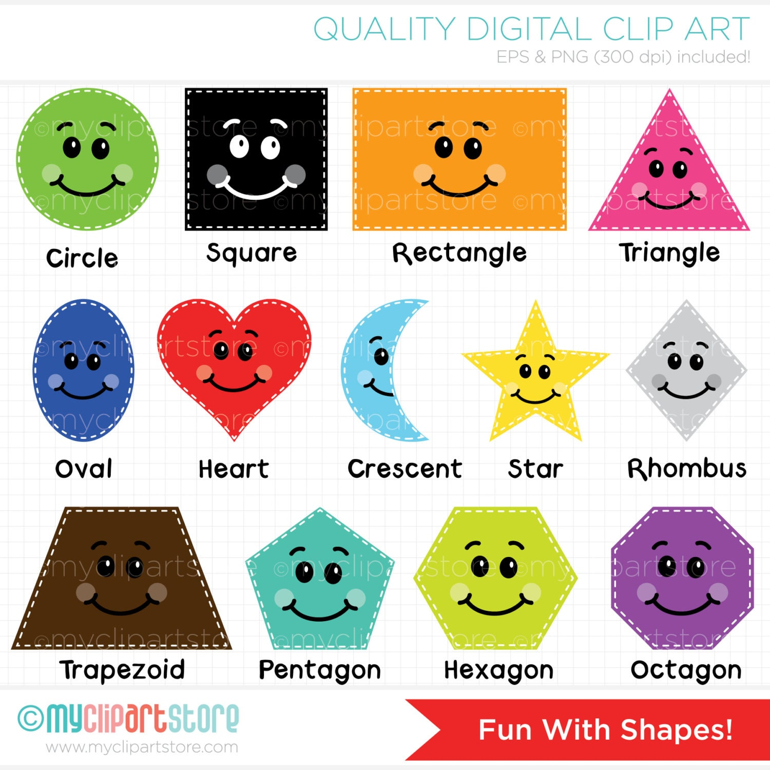 Clipart Fun With Shapes Educational / Teachers by MyClipArtStore: https://etsy.com/listing/126708423/fun-with-shapes-educational...