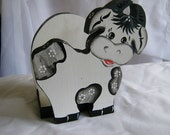 Vintage Black & White Wood Cow Napkin Holder