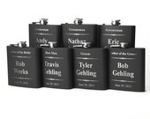 Personalized Groomsmen Gift, 7 Engraved Flasks, Groomsmen Flasks