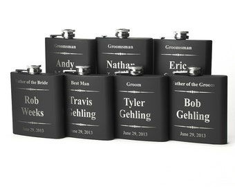 Personalized Groomsmen Gift, 7 Engraved Flasks, Groomsmen Flasks