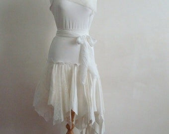Alternative Wedding Dress Upcycled Woman's Clothing Romantic Eco Style Fairy Dress White Ivory OOAK