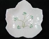 Vintage BELLEEK Leaf CANDY DISH 3rd Green Mark 1965 to 1981 Lovely