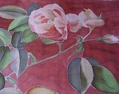 Deep red silk chiffon scarf Mothers day gift Hand painted with roses - made TO ORDER