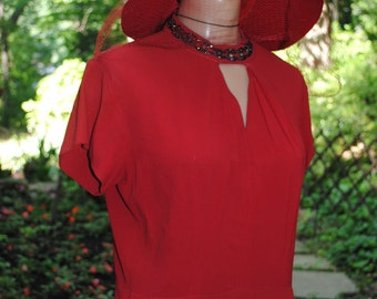 1930's Red Silk Crepe Dress  Swing WWII Movie Dress Medium