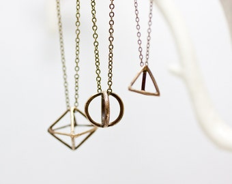 SALE Geometric Brass Pendant Necklace, Tetrahedron, Circle, Diamond