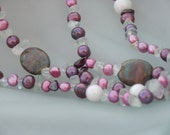 Long necklace purple ruby fuchsite garnet real pearls