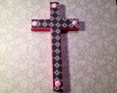 Pink and Black Wooden Cross