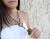 Green, red indian beads, enamel pendant ethnic necklace-Afghan Tassel Necklace, OOAK, Christmas Gifts,