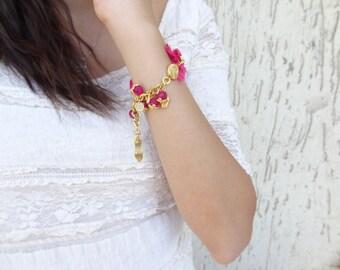 Fuchsia Bracelet, Turkish Silk Bracelet, Fuchsia Jade Bracelet, Ottoman Kaftan Bracelet, Charm Bracelet, Gold Bracelet, Mother's Day Gift