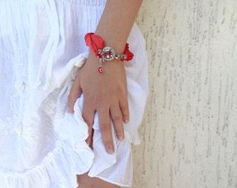 Red Bracelet, Red silk bracelet, Silver, Feminine, Handmade, OOAK, Christmas,